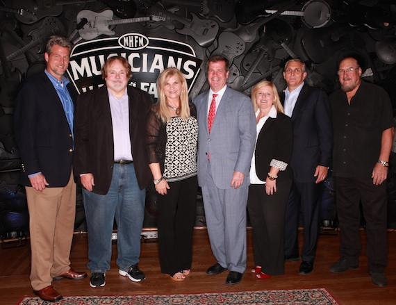 Pictured (L-R): David Spencer, Vice President of Convention Services and Special Events, Nashville Convention and Visitors Corporation; Joe and Linda Chambers, Founders of Musicians Hall of Fame And Museum; Nashville mayor Karl Dean; Deana Ivey, Chief Marketing Officer, Nashville Convention and Visitors Corporation; Butch Spyridon, President, Nashville Convention and Visitors Corporation, and legendary guitarist/songwriter and Rock & Roll Hall of Fame member Steve Cropper. Photo: Royce DeGrie.