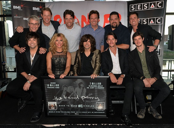 Pictured (L-R): First Row: Neil Perry, Kimberly Perry, Reid Perry, Jacob Bryant, John Davidson. Second Row: Jimmy Harnen (Republic Nashville President/BMLG EVP), Clay Bradley ( BMI's Assistant VP of Writer/Publisher Relations), Mike Doyle (VP Creative/GM -Major Bob Music), Dann Huff (Producer), Tim Fink (VP Writer/Publisher Relations/SESAC), and Jesse Frasure (Director of A&R -Major Bob Music). Photo: Rick Diamond/Getty Images