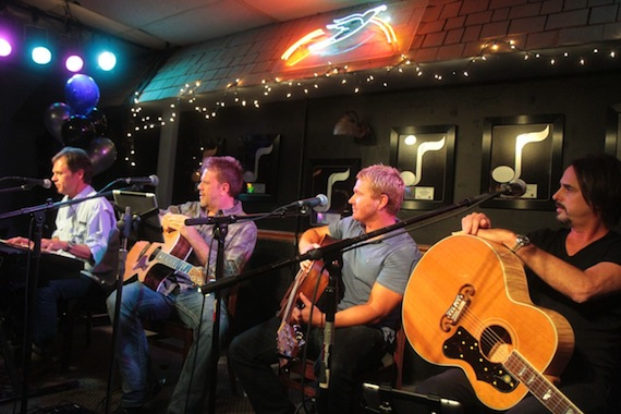 L-R: Songwriters Tom Douglas, Wendell Mobley, Shane McAnally, and Marti Frederiksen perform during NMPA's Songwriter Showcase held at Nashville's Bluebird Café Photo credit NMPA/Bev Moser