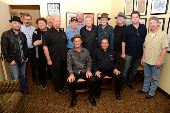 Pictured (L-R): Guthrie Trapp, Vice President of Museum Programs Jay Orr, Bill Lloyd, Byron House, Pig Robbins, Leon Rhodes, Greg Morrow, Buddy Emmons, Duane Eddy, Dan Dugmore, Dean Miller, Buck Reid, (seated) Steve Fishell and Tommy White.