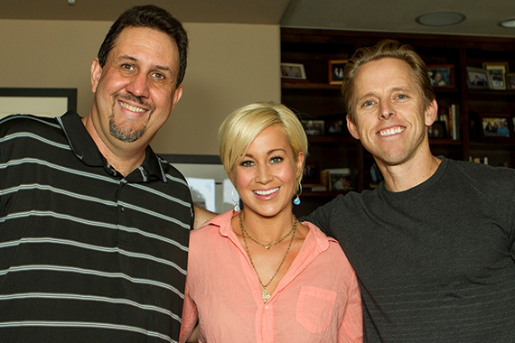 "Kellie Pickler, who lands the highest debut this week at No. 67 with ""Little Bit Gypsy,"" recently spent time with KJUG after an acoustic event in support of the title. Pictured: (L-R): Adam Jeffries (KJUG PD), Kellie Pickler, and Bill Lubitz (Black River)"