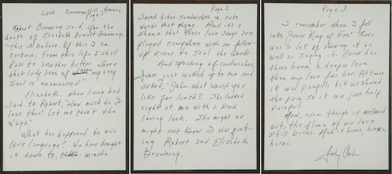 "An original three-page handwritten draft of the liner notes for Johnny Cash's 2000 album release, Love, which was released individually and also as part of a 3-CD box set titled, Love, God and Murder. Reads in part, ""I remember when I fell into June's 'Ring of Fire.' There was a lot of showing it as well as saying it. Never had there been a deeper love than my love for her. At times it was painful but we shared the pain so it was just half painful. Now, even though it has mellowed out, the flame of our love still burns. And it burns, burns, burns."" Signed at the conclusion of the last page ""Johnny Cash."" From the personal collection of MusicRow Publisher/Owner Sherod Robertson"
