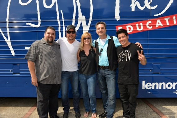 Pictured (L-R): SESAC's Tim Fink, singer/songwriter Lance Miller, SESAC's Ellen Truley and Rob Marcus and John Lennon Educational Tour Bus coordinator Ryan L'Esperance.