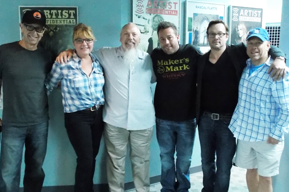 "Recently, Sugar Hill artist Uncle Kracker visited Nashville's SiriusXM offices where he performed this week's No. 51 single ""Blue Skies."" Pictured (L-R): David Newmark (Sugar Hill), April Rider (RPME), John Marks (SiriusXM's Sr. Director/Country Programming), Uncle Kracker, Jeff Solima, Jack Christopher (RPME)"