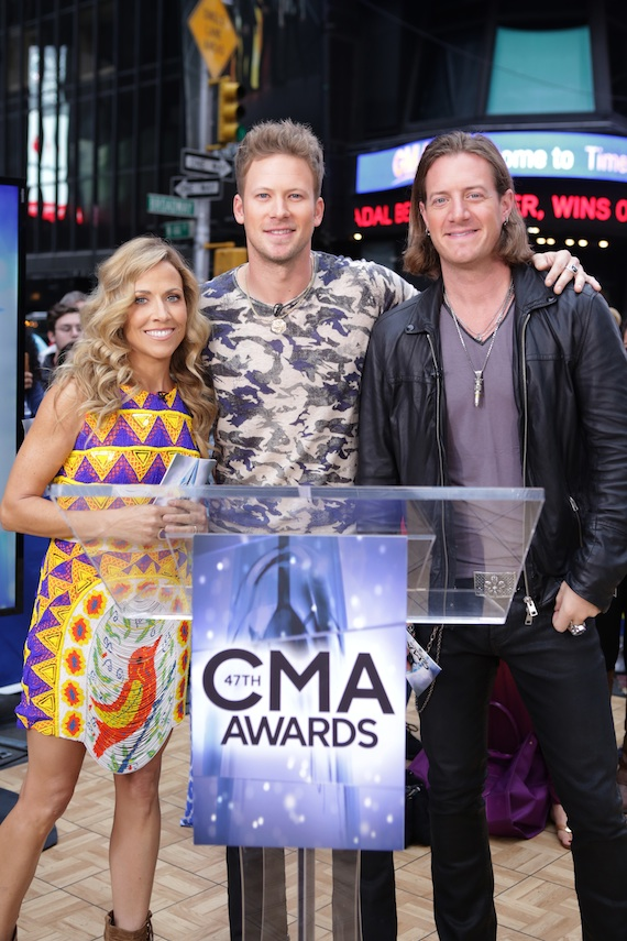 Pictured (L-R): Sheryl Crow, FGL's Brian Kelley and Tyler HubbardPhoto Credit: ABC / Fred Lee