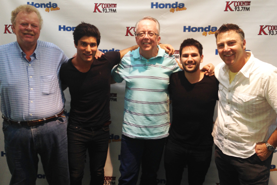"""Dan + Shay took time to visit with Mr. Bob & Rick Brooks aka """"Big Red"""" to promote """"19 You+Me,"""" their Warner Brothers single. Pictured (L-R): Mr. Bob (PD, WOGK), Dan Smyers, Rick Brooks (MD, WOGK), Shay Mooney and Tom Martens (WMG)"""