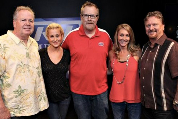 """Kellie Pickler recently stopped by WFUS US 103.5 to promote her latest Black River single """"Little Bit Gypsy"""" in anticipation of her Nov. 11 The Woman I Am album release date. Pictured (L-R):  Mike Wilson (Black River); Pickler; Travis Daily (PD); Launa Phillips (MD); and Joe Carroll (Black River)."""