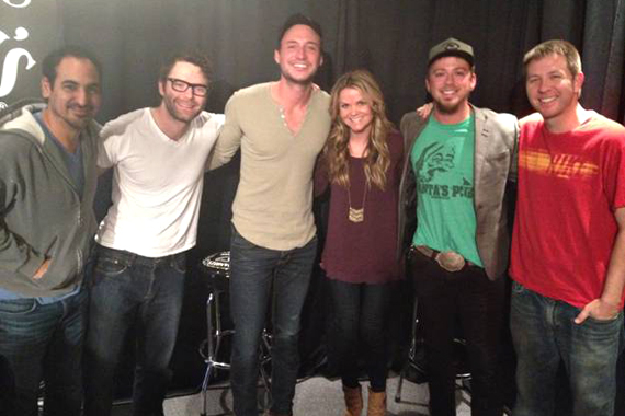 "Eric Gunderson and Stephen Barker Liles of the CMA-nominated duo Love and Theft recently stopped by The Bobby Bones show in promotion of this week's No. 12 RCA Nashville single ""If You Ever Get Lonely."" Pictured (L-R): Eddie, Bobby Bones, Eric Gunderson, Amy, Stephen Barker Liles, Lunchbox"