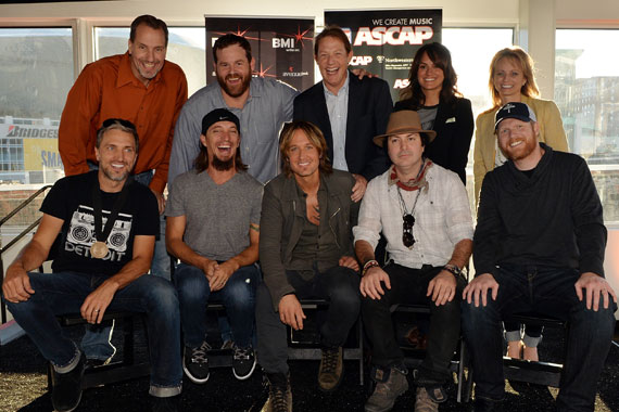 (Back Row, L-R:) Sony ATV Music Publishing's Tom Luteran, Capitol Nashville's Royce Risser, BMI's Clay Bradley, ASCAP's LeAnn Phelan, ASCAP's Kele Currier (Front Row, L-R): Co-writers Brett Warren, Brad Warren, Keith Urban, co-writer Kevin Rudolf, and producer Nathan Chapman. Photo: Rick Diamond