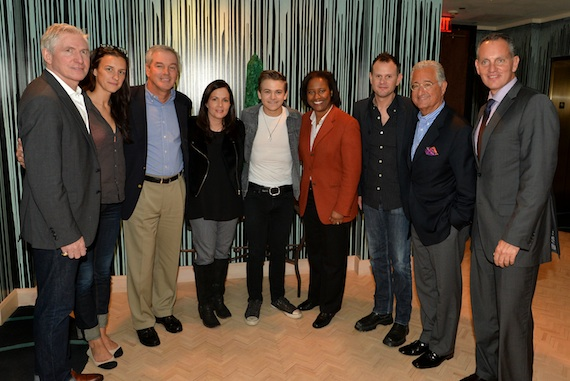 "Pictured (L-R): Martingale Entertainment's Ansel Davis and Betsy McHugh, BMI Board of Directors Vice Chairman Paul Karpowicz, ""I Want Crazy"" co-writer Lori McKenna, Hunter Hayes, BMI Board of Directors Chairman Susan Davenport Austin, ""I Want Crazy"" co-writer Troy Verges, BMI President Del Bryant and BMI CEO Mike O'Neill. Photo: Rick Diamond"