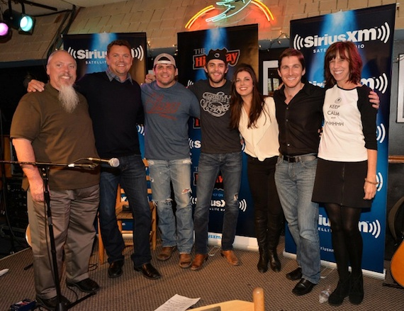 Pictured (L-R): SiriusXM Producer John Marks, SiriusXM The Highway host Storme Warren, Rhett Akins, Thomas Rhett, G Major Management PresidentVirginia Davis, Big Machine Label Group VP John Zarling and The Bluebird Café  C.O.O./President Erika Wollam Nichols. Photo: Rick Diamond/Getty Images