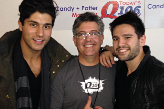 "Dan + Shay recently visited WWQM on a Midwest-Northeast promo tour in promotion of the No. 55 Warner Bros. single, ""19 You+Me."" Pictured (L-R): Dan Smyers, Fletcher Keyes (PD), Shay Mooney"