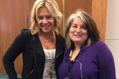 Flying Island's Gwen Sebastian (L) recently visited with Premiere Radio's Rosemary Young (R) at this week's radio remote.