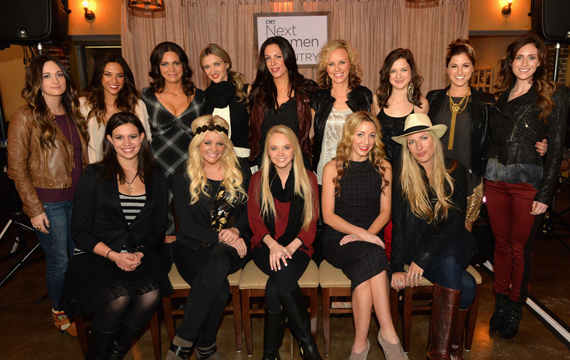 Pictured (L-R Seated): Rachel Farley, Lauren Alaina, Danielle Bradbery, Ashley Monroe, Holly Williams; (Standing): Kacey Musgraves, Jana Kramer, Angaleena Presley, Sarah Darling, Rose Falcon, Kristen Kelly, Sarah Zimmermann (Striking Matches), Cassadee Pope, Kelleigh Bannen. Photo: Rick Diamond/WireImage