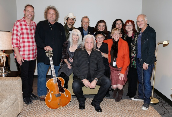 Pictured (L-R, back): Gordon Kennedy, Brian Ahern, Brad Paisley, Buck White, Molly Skaggs, Sharon White, Cheryl White and Peter Frampton; (front) Country Music Hall of Fame member Emmylou Harris, Ricky Skaggs, Country Music Hall of Fame member Brenda Lee and Vice President of Development Pamela Johnson.