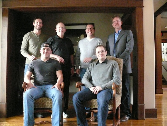 Pictured, seated (L to R):  Cole Taylor and Noah McPike (attorney Almon Law, PLLC).Standing (L to R): Ryan Beuschel (ASCAP), Ron Stuve (VP UMPG), me, Greg Hill (manager, Hill Entertainment Group.)