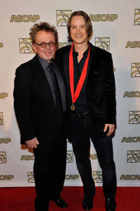 Pictured (L-R): ASCAP President Paul Williams and ASCAP Songwriter of the Year Josh Kear. Photo: Ed Rode and Frederick Breedon.
