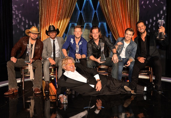 Pictured (L-R, Seated): Jason Aldean, Tim McGraw, Brian Kelley (Florida Georgia Line), Tyler Hubbard (Florida Georgia Line), Hunter Hayes, Luke Bryan; (Front): Ron White
