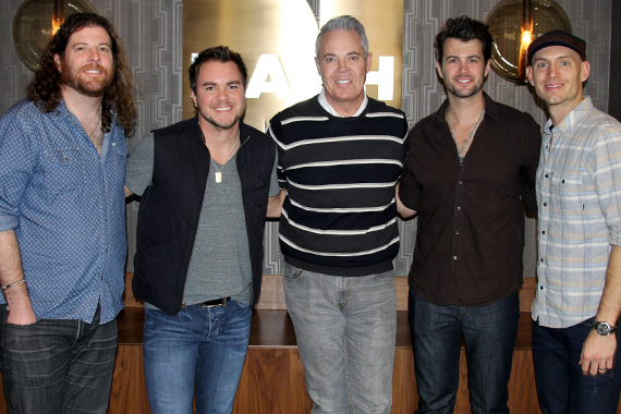 "The Eli Young Band recently stopped by NASH-FM in Nashville to discuss their upcoming Republic Nashville album and celebrate the success of the gold-certified ""Drunk Last Night."" Pictured (L-R): EYB's James Young, Mike Eli, Blair Garner, EYB's Chris Thompson and Jon Jones. Photo: Sarah Montgomery"