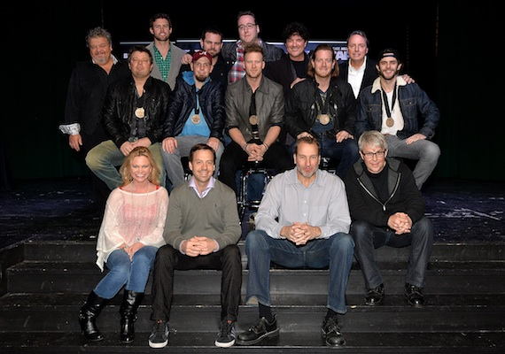 Pictured (Back row, L-R): Big Red Toe Music's Craig Wiseman, ASCAP's Ryan Beuschel, Big Red Mountain's Seth England, producer Joey Moi, Big Machine Label Group's Scott Borchetta, and BMI's Jody Williams; (Middle row, L-R): co-writers Rodney Clawson and Chris Tompkins, Florida Georgia Line's Brian Kelley and Tyler Hubbard, and co-writer Thomas Rhett; (Front row, L-R): CMA's Brandi Simms, Republic Nashville's Matthew Hargis, EMI Blackwood Music Publishing's Tom Luteran, and Republic Nashville's Jimmy Harnen. Photo credit: Rick Diamond