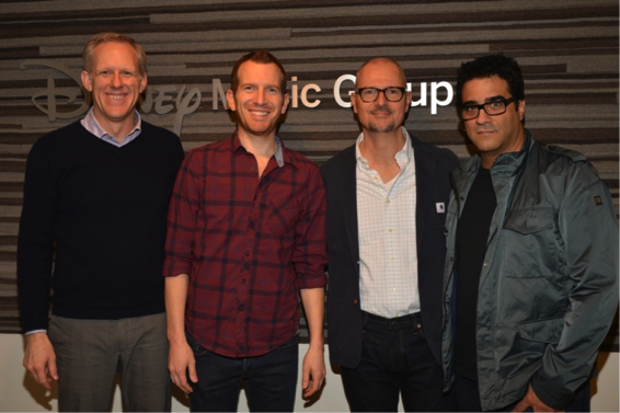 "Pictured (L-R): Ken Bunt, President, DMG; Jess Cates, Songwriter; Mio Vukovic, SVP of A&R/Head of Creative, DMG; Emanuel ""Eman"" Kiriakou)."