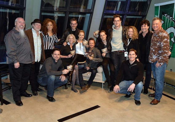 "Pictured (L-R): SiriusXM's John Marks, ""Nashville"" music producer Buddy Miller, actress Chaley Rose, actor Charles Esten, Executive Producers Callie Khouri and Steve Buchanan, actress Hayden Panettiere, actor Will Chase, actor Jonathan Jackson, actor Sam Palladio, Music Supervisor Frankie Pine, Big Machine's John Zarling, Big Machine Label Group President/CEO Scott Borchetta and SiriusXM's Buzz Brainard. (Photo by Rick Diamond/Getty Images for SiriusXM)"