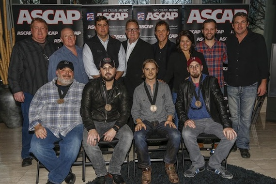 Pictured (L-R, front row): Songwriter Mark Irwin, Tyler Farr, and songwriters Josh Kear and Chris Tompkins, (L-R, back row): ASCAP's Mike Sistad, producers Julian King and Sony Music Nashville's Jim Catino, Sony Music Nashville's Gary Overton and Norbert Nix, Big Yellow Dog's Carla Wallace, Big Loud Shirt's Matt Turner and Red Vinyl Music's Eric Gallimore. Photo: Ed Rode.