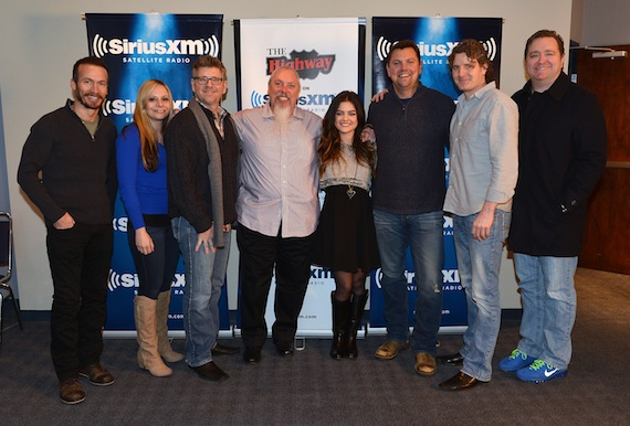 Pictured (L-R): Jay Bradley, Director of Strategic Marketing/Promotion (Bigger Picture), Kimmie Trosdahl, Senior Director of Promotion/Secondary Charts (Bigger Picture), Michael Powers, President (Bigger Picture), John Marks, Sr. Director of Country Programming (SiriusXM) , Lucy Hale, SiriusXM host Storme Warren, Mike Daly, Director, A&R (Disney Music Group), Matt Corbin, VP National of Promotion (Bigger Picture). Photo credit: Rick Diamond/Getty Images