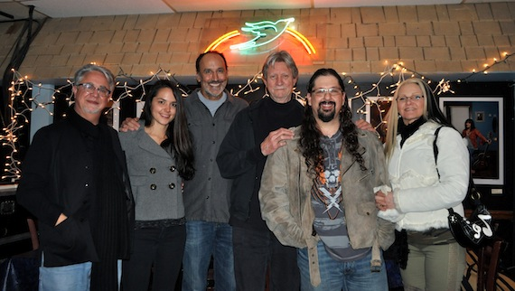 Pictured (l-r): Danny Flowers, special guest Sophie Sanders, Mark D. Sanders, ASCAP's Ralph Murphy, Chris Wallin and special guest Camille Wallin