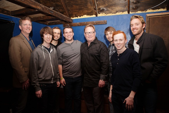 Pictured (L-R): Hill Entertainment Group's Greg Hill; Go Down Moses members Philip Haas, Robert Price, and Brandon Dockery; Sony Music Nashville Chairman & CEO Gary Overton; and the band's Casey Driscoll, Reid Huffman, and Barrett Jacques. Photo credit: Ivor Karabatkovic