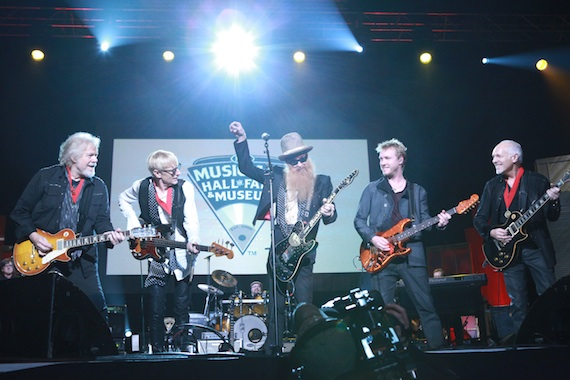 Pictured (L-R): 2014 Inductee Randy Bachman (Bachman Turner Overdrive/The Guess Who), 2014 Inductee Will Lee (Late Show w/ David Letterman's CBS Orchestra, The Fab Faux), ZZ Top's Billy Gibbons, Artist Kenny Wayne Shepherd, 2014  Inductee Peter Frampton closing out the 2014 Musicians Hall of Fame Awards Show at Nashville's Historic Municipal Auditorium, January 28th in an all-star jam.