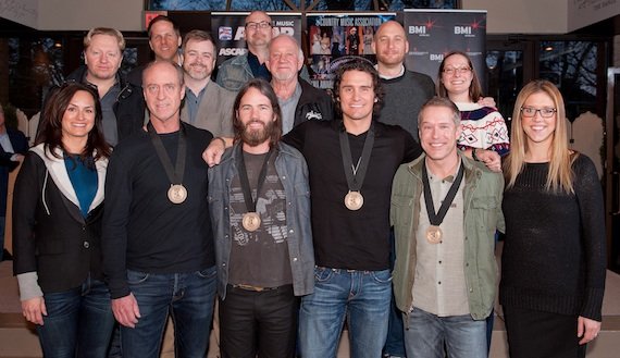 Pictured (Back row, L-R): Broken Bow Records' Jon Loba and producer Derek George; (Middle row, L-R): producer Mickey Jack Cones, Warner-Tamerlane Music Publishing's Ben Vaughn, Broken Bow Records' Benny Brown, Triple 8 Management's George Couri, and Sony/ATV Music Publishing's Abbey Adams; (Front row, L-R): ASCAP's LeAnn Phelan, co-writers Michael Dulaney and Paul Jenkins, Joe Nichols, co-writer Jason Sellers, and BMI's Penny Everhard. Photo credit: Steve Lowry