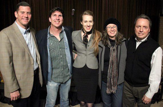 Pictured are (L-R): BMI's Mark Mason, Noel McKay, Leigh, manager Tamara Saviano and BMI's Jody Williams. Photo credit: Drew Maynard