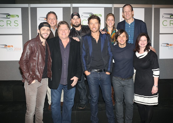 Pictured backstage (L-R, back row): BMI's Jody Williams, Tyler Farr, and BMI's Penny Everhard and Dan Spears; front row: Thomas Rhett, BMI's David Preston, Brett Eldredge, Charlie Worsham, and BMI's Jessica Frost. Photo by Shea Haliburton / (c) Country Radio Seminar
