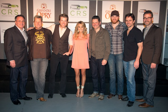 Pictured (L-R): Pete Fisher, VP/GM Grand Ole Opry; Gary LeVox, Joe Don Rooney, Carrie Underwood, Jay DeMarcus, Eric Paslay, Charles Esten, Steve Buchanan, President, Opry Entertainment Group
