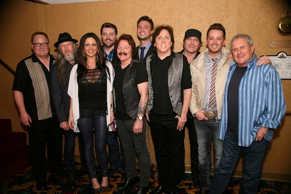 Pictured (l-r):  Sony Music Nashville Chairman & CEO Gary Overton, the Doobie Brothers' Patrick Simmons, Sara Evans, Chris Young, Doobie Tom Johnston, Love and Theft's Eric Gunderson, Doobie John McFee, Jerrod Niemann, Love and Theft's Stephen Barker Liles, and Doobie Brothers manager Bruce Cohn. Photo credit:  Larry Boothby