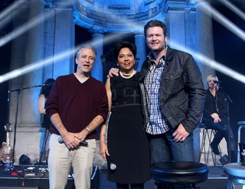 Jon Stewart, Chairman and Chief Executive Officer of PepsiCo Indra Nooyi and Shelton.