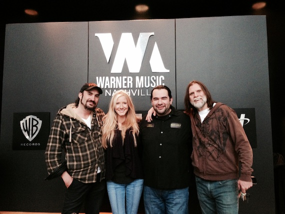 Pictured (L-R): James LeBlanc(Writer), Kalisa Ewing(artist/writer),  David Reyes (owner/chef of Boca Loca Cantina) and Todd Wilkes of KingSpirit Music