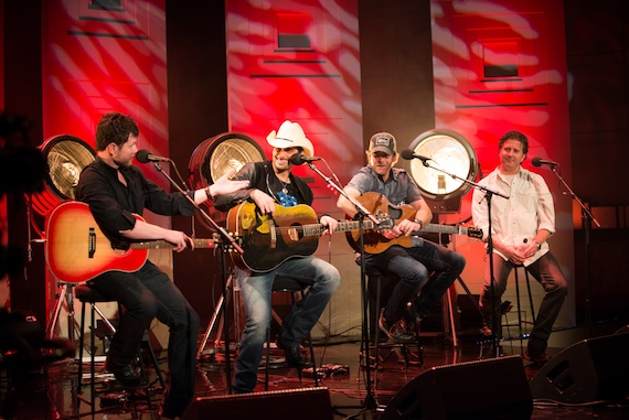 Pictured (L-R): Lee Thomas Miller, Brad Paisley, Kelley Lovelace, Chris DuBois. Photo By: Ben Enos