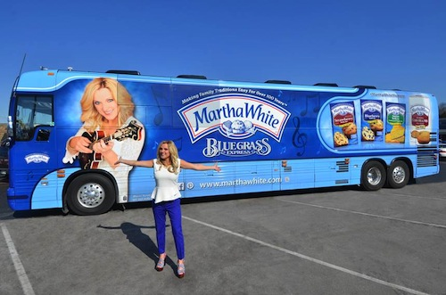Rhonda Vincent shows off her newly wrapped Martha White bus.