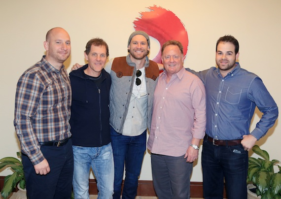 Pictured (L-R): Triple 8 Management's George Couri; Columbia Nashville VP Promotion Norbert Nix; Chase Rice; Sony Music Nashville Chairman & CEO Gary Overton; Triple 8 Managment's Bruce Kalmick.Photo Credit: Alan Poizne