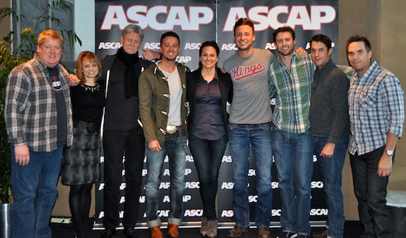Pictured (L-R): ASCAP's Mike Sistad, Kele Currier and Ralph Murphy, Love and Theft's Stephen Barker Liles, ASCAP's LeAnn Phelan, Love and Theft's Eric Gunderson, ASCAP's Ryan Beuschel and Michael Martin, and Vector Management's Ross Schilling. Photo by ASCAP's Anna White.