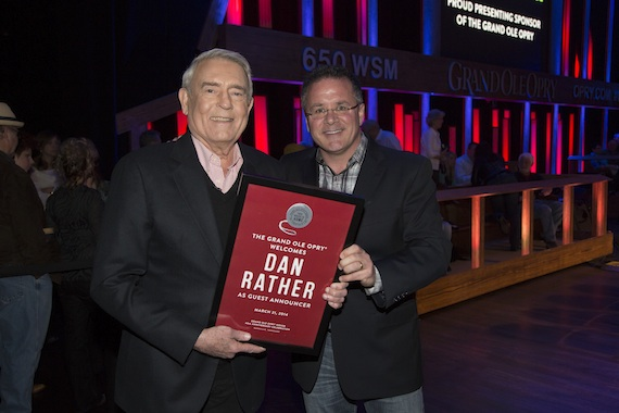 Pictured  (L-R): Dan Rather and Pete Fisher, VP/GM of the Grand Ole Opry. Photo: Chris Hollo, Hollo Photographics, Inc.