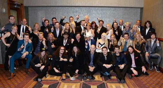 Pictured (L-R): First Row – THE CADILLAC THREE's Neil Mason, Kelby Ray, Jaren Johnston, ELI YOUNG BAND's Jon Jones, Mike Eli, Chris Thompson, James Young; Second Row – BMLG's NIKKI BURNS, RASCAL FLATTS' Joe Don Rooney, Gary LeVox, MOTLEY CRUE's Vince Neil, TIM McGRAW, BMLG's SCOTT BORCHETTA, ACM New Artist of the Year JUSTIN MOORE, RAELYNN, DANIELLE BRADBERY, RASCAL FLATTS' Jay DeMarcus, ACM Vocal Group of the Year THE BAND PERRY's Kimberly Perry, Neil Perry; Third Row – BMLG's JAKE BASDEN, JACK PURCELL, MANDY McCORMACK, JOHN ZARLING, MATTHEW HARGIS, AMY STALEY, SANDI SPIKA BORCHETTA, ANDREW KAUTZ, KELLY RICH, LOIS WHITE, CHRIS STACEY, JACKIE CAMPBELL, MIKE MOLINAR, ALEX HEDDLE, JIMMY HARNEN, ALLISON JONES, RAY PRONTO, ACM Vocal Group of the Year THE BAND PERRY's Reid Perry
