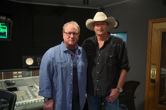 Pictured (L-R): Joel McNeely and Alan Jackson in the studio.