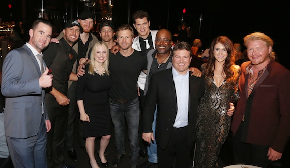 Pictured: ACM presenter David Nail, ACM co-host Luke Bryan, Eric Paslay, UMG Nashville Sr. VP, Marketing Cindy Mabe, ACM nominee and performer Kip Moore, ACM performer Dierks Bentley, Jon Pardi, ACM nominee and performer Darius Rucker, UMG Nashville SVP/COO Tom Becci, Kelleigh Bannen and ACM nominee Little Big Town's Phillip Sweet