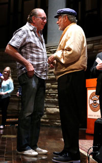 Pres./CEO Warner Music Nashville, John Esposito visits with Jimmy Bowen after the program. Photo: Donn Jones.