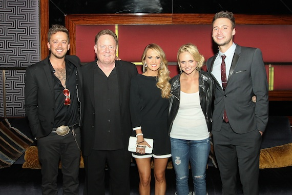 Pictured (L-R): Love and Theft's Stephen Barker Liles, Carrie Underwood, Miranda Lambert, and Love and Theft's Eric Gunderson.