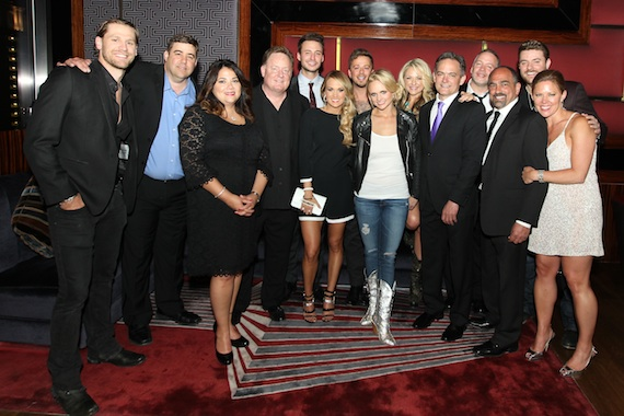 Pictured (L-R): Chase Rice; Sony Music Nashville A&R VP Jim Catino, Sales VP Caryl Healey, and Chairman & CEO Gary Overton; Love and Theft's Eric Gunderson; Carrie Underwood; Love and Theft's Stephen Barker Liles; Miranda Lambert; Leah Turner; SMN Sr. VP Finance & Operations Mike Craft; RCA Nashville Sr. VP Natl. Promotion Keith Gale; SMN Sr. VP Marketing Paul Barnabee; Chris Young; and Arista Nashville Promotion VP Lesly Tyson. Photo:  Meishach Moore / Christie's Photographic Solutions