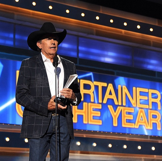 George Strait wins Entertainer of the Year at the 49th Annual Academy of Country Music Awards.